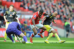 Bristol City's Mark Little challenges for the ball with Walsall's James Chambers - Photo mandatory by-line: Dougie Allward/JMP - Mobile: 07966 386802 - 22/03/2015 - SPORT - Football - London - Wembley Stadium - Bristol City v Walsall - Johnstone Paint Trophy Final