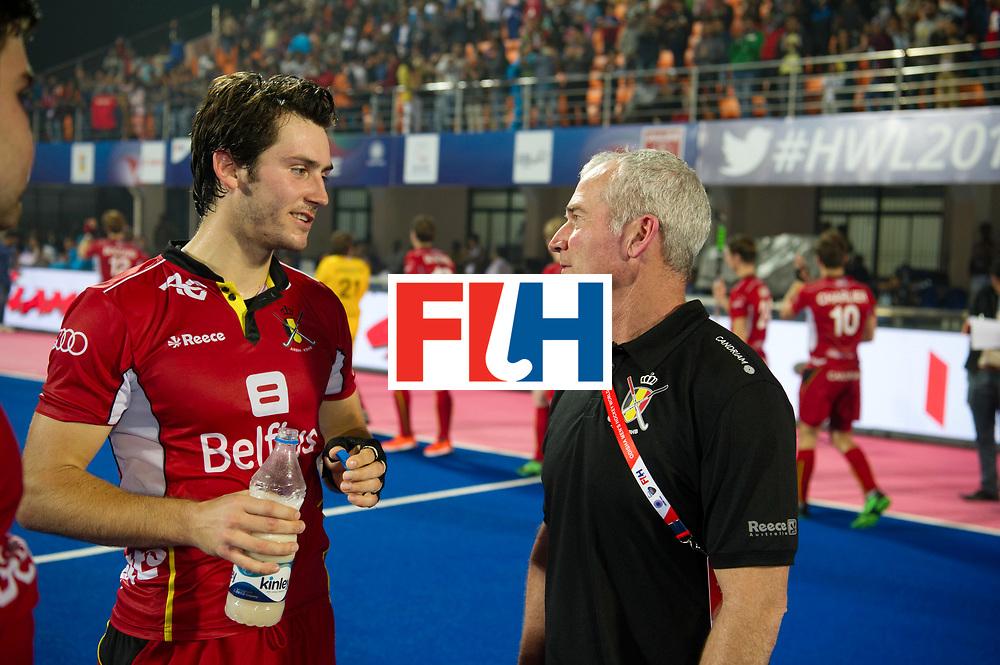 Odisha Men's Hockey World League Final Bhubaneswar 2017<br /> Match id:07<br /> Belgium v Spain<br /> Foto: Arthur van Doren (Bel) talking with his coach coach Shane McLeod (Bel) <br /> WORLDSPORTPICS COPYRIGHT FRANK UIJLENBROEK
