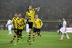 13.02.2015, Signal Iduna Park, Dortmund, GER, 1. FBL, Borussia Dortmund vs 1. FSV Mainz 05, 21. Runde, im Bild vl: Sokratis (Borussia Dortmund #25), Nuri Sahin (Borussia Dortmund #18), Torschuetze Neven Subotic (Borussia Dortmund #4) und Lukasz Piszczek (Borussia Dortmund #26) beim Torjubel nach dem Treffer zum 1:1 Ausgleich // during the German Bundesliga 21th round match between Borussia Dortmund and 1. FSV Mainz 05 at the Signal Iduna Park in Dortmund, Germany on 2015/02/13. EXPA Pictures © 2015, PhotoCredit: EXPA/ Eibner-Pressefoto/ Schueler<br /> <br /> *****ATTENTION - OUT of GER*****