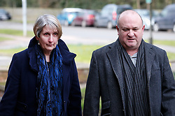 © Licensed to London News Pictures. 02/03/2016. Ampthill, UK.      Alison and Ray Johnson arrive for a pre-inquest review into the death of their son Conservative party activist Elliott Johnson. Mr Johnson was found dead on a railway line in Bedfordshire a few weeks after he raised concerns about the way he had been treated in the Conservative youth wing. Photo credit: Peter Macdiarmid/LNP