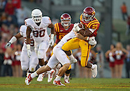 October 01, 2011: Iowa State Cyclones running back Shontrelle Johnson (21) is hit by Texas Longhorns safety Blake Gideon (21) during the first half of the game between the Iowa State Cyclones and the Texas Longhorns at Jack Trice Stadium in Ames, Iowa on Saturday, October 1, 2011. Texas defeated Iowa State 37-14.