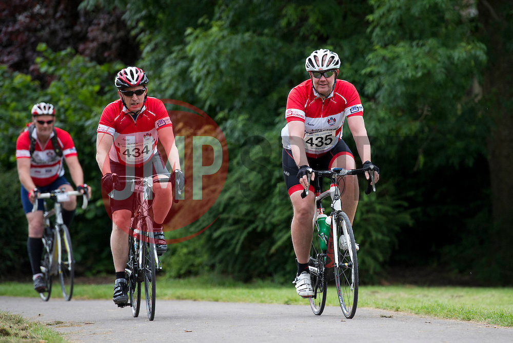 Participants (435, 434) cycle through Greville Smyth Park during Break the Cycle, a 110 mile charity bike ride organised by the Bristol, Bath and Gloucester Rugby Community Foundations, visiting their respective stadia, Ashton Gate, The Recreation Ground and Kingsholm Stadium  - Photo mandatory by-line: Dougie Allward/JMP - Mobile: 07966 386802 - 14/06/2015 - SPORT - Cycling - Bristol - Ashton Gate - Bristol Rugby Community Foundation - Break the Cycle