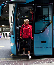 LONDON, ENGLAND - Thursday, September 14, 2017: Wales' Charlie Estcourt arrives at Heathrow Airport as the squad travel to Kazakhstan ahead of the FIFA Women's World Cup 2019 Qualifying Round Group 1 match against Kazakhstan. (Pic by David Rawcliffe/Propaganda)