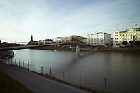 Blick Richtung Salzach, Makartsteg, Elisabethkai, Hotel Sacher Salzburg