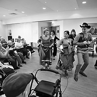 08.03.2012.Jewish Care celebrates Purim with a Flamenco workshop at the Michael Sobell Centre in Golders Green. Pictured is Danielle Allan teaching service users and staff the secrets of Flamenco..Photography (C) Blake-Ezra Cole. www.blakeezracole.com