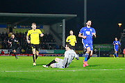 Burton's Jon McLaughlin (1) makes a clearance outside of his box during the EFL Sky Bet Championship match between Burton Albion and Birmingham City at the Pirelli Stadium, Burton upon Trent, England on 21 October 2016. Photo by Richard Holmes.