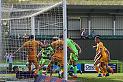 Forest Green Rovers Christian Doidge(9) shoots at goal scores a goal 2-1 during the EFL Sky Bet League 2 match between Forest Green Rovers and Cambridge United at the New Lawn, Forest Green, United Kingdom on 22 April 2019.
