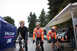 Boels-Dolmans Cycling Team riders roll to the start of the Trofeo Alfredo Binda - a 131,1 km road race, between Taino and Cittiglio on March 18, 2018, in Varese, Italy. (Photo by Balint Hamvas/Velofocus.com)
