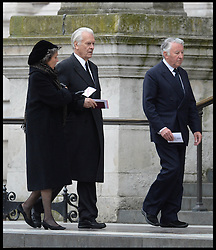 Lord Owen, who served as British Foreign Secretary from 1977 to 1979, and former MP Baron Steel attend Lady Thatcher's funeral at St Paul's Cathedral following her death last week, London, UK, Wednesday 17 April, 2013, Photo by: Andrew Parsons / i-Images