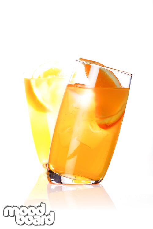 Close up of orange juice in glass
