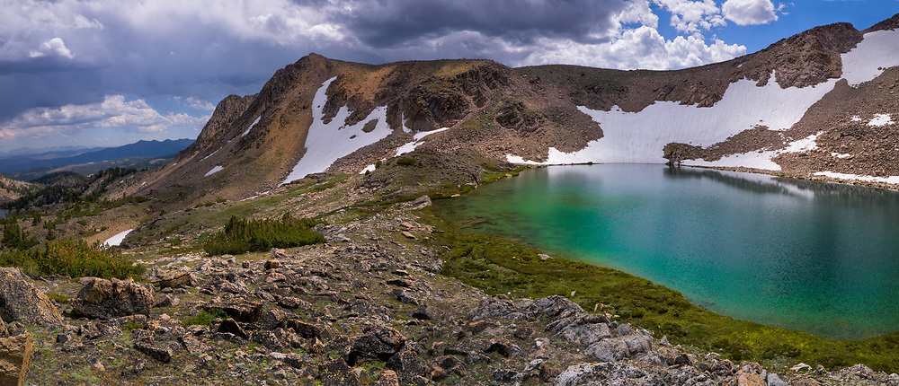 Slide Lake perches at 10,200 feet, White Cloud Peaks.