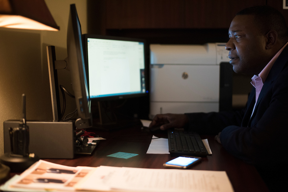 Rod Lipscomb works in his office at North Central Texas College in Corinth, Texas on September 7, 2016. (Cooper Neill for The New York Times)