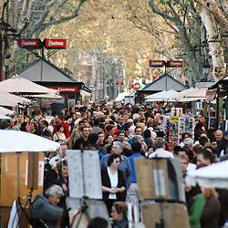 La Rabla comes to life with droves of tourist and locals enjoying the day and all Barcelona has to offer.
