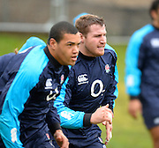 Bagshot, Great Britain, left,  Luther BURRELL and Ben MORGAN, during the England Rugby Training, in preparation for the England vs Ireland, Six Nations Match. Thursday   20/02/2014  [Mandatory Credit Peter SPURRIER/Intersport Images.