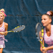 August 20, 2016, New Haven, Connecticut: <br /> Ketevan Okruashvili and Magda Okruashvili in action during a US Open National Playoffs match at the 2016 Connecticut Open at the Yale University Tennis Center on Saturday, August  20, 2016 in New Haven, Connecticut. <br /> (Photo by Billie Weiss/Connecticut Open)