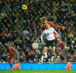 LIVERPOOL, ENGLAND - Saturday, November 22, 2008: Liverpool's Lucas Leiva and Fulham's Paul Konchesky during the Premiership match at Anfield. (Photo by David Rawcliffe/Propaganda)