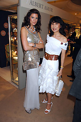 Left to right, CHRISTINA ESTRADA JUFFALI and NANCY MILLER-JONG at the Grosvenor House Art & Antiques Fair Gala evening in aid of the UKês oldest childrenês charity CORAM held at the Grosvenor House Hotel, Park Lane, London on 14th June 2007.<br />