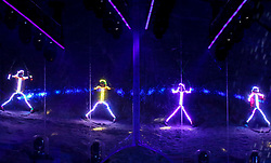 18.03.2017, Planai-Stadion, Schladming, AUT, Special Olympics 2017, Wintergames, Eröffnungsfeier, im Bild eine Skishow mit LED-Anzügen // skishow with LED-clothes during the opening ceremony in the Planai Stadium at the Special Olympics World Winter Games Austria 2017 in Schladming, Austria on 2017/03/17. EXPA Pictures © 2017, PhotoCredit: EXPA / Martin Huber