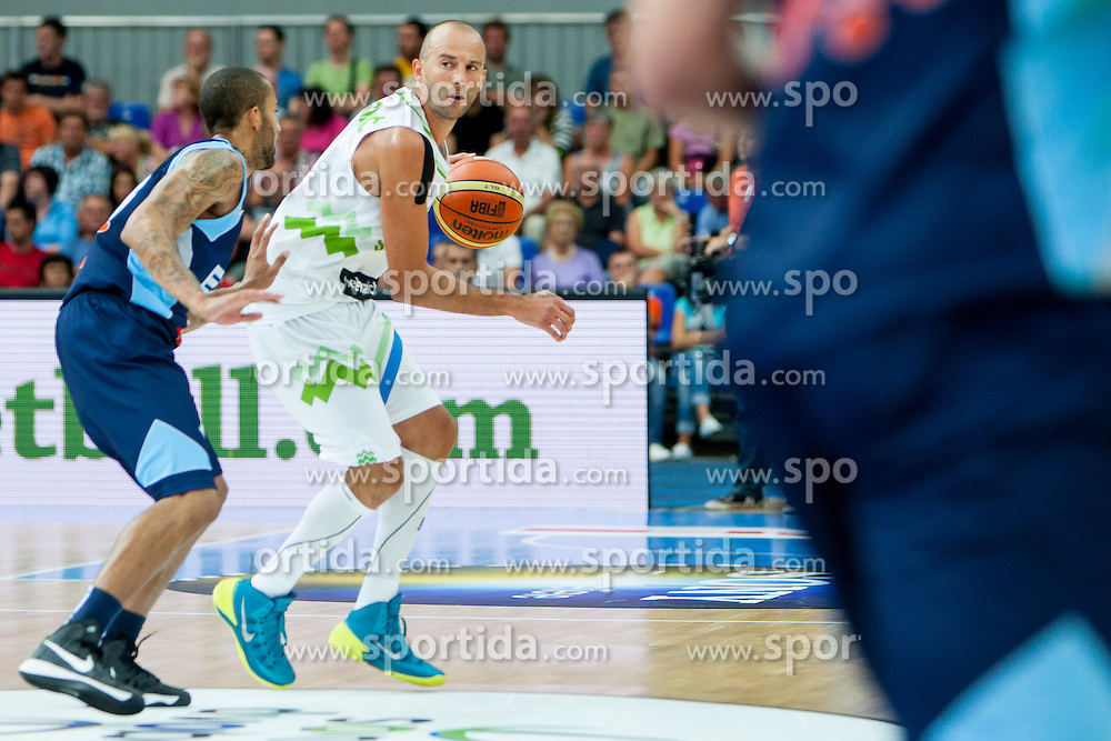 Nebojsa Joksimovic of Slovenia during friendly match between National teams of Slovenia and Bosnia and Herzegovina for Eurobasket 2013 on August 16, 2013 in Podmezakla, Jesenice, Slovenia. (Photo by Urban Urbanc / Sportida.com)