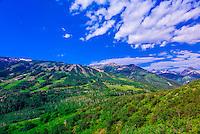 Ski slopes in summer, Snowmass, Snowmass Village (Aspen), Colorado USA.