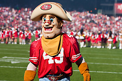 November 14, 2010; San Francisco, CA, USA;  The San Francisco 49ers mascot performs before the game against the St. Louis Rams at Candlestick Park. San Francisco defeated St. Louis 23-20 in overtime.