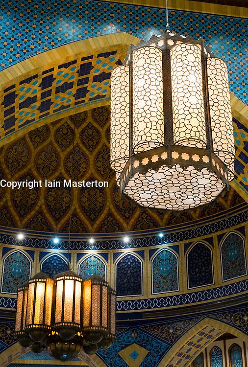 Ornate lamps at Ibn Battuta shopping mall in Dubai United Arab Emirates