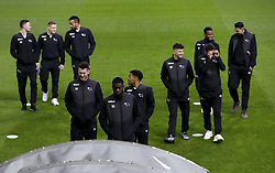 "A Derby County player (second right) makes a binoculars gesture whilst inspecting the pitch prior to the Sky Bet Championship match at Elland Road, Leeds. PRESS ASSOCIATION Photo. Picture date: Friday January 11, 2019. See PA story SOCCER Leeds. Photo credit should read: Simon Cooper/PA Wire. RESTRICTIONS: EDITORIAL USE ONLY No use with unauthorised audio, video, data, fixture lists, club/league logos or ""live"" services. Online in-match use limited to 120 images, no video emulation. No use in betting, games or single club/league/player publications."