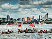 05 OCTOBER 2015 - BANGKOK, THAILAND:  Divers work in two man teams on small boats in the Chao Phraya River. One person stays in the boat while the diver scours the river bottom for anything that can be salvaged and resold. The divers usually work close to shore because the center of the river is a busy commercial waterway with passenger boats and commercial freight barges passing up and down the river all day long. The Chao Phraya is a dangerous river to dive in. It's deep, has large tidal fluctuations, is fast flowing and badly polluted. The divers make money only when they sell something.     PHOTO BY JACK KURTZ
