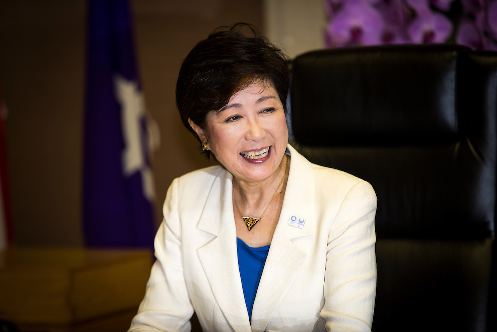 TOKYO, JAPAN - AUGUST 2 : Yuriko Koike, newly elected governor of Tokyo, posed for the press as she sits in her office on the first day of duty as a Tokyo Governor at Tokyo Metropolitan Government Building in Tokyo, Japan, on Tuesday, August 2, 2016. Yuriko Koike a Liberal Democratic Party lawmaker and former defense minister is the first women to be elected as a Governor of Tokyo. (Photo: Richard Atrero de Guzman/NURPhoto)