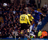 Photo: Alan Crowhurst.<br />Chelsea v Manchester City. The Barclays Premiership. 25/03/2006. Chelsea's Didier Drogba (R) goes close.