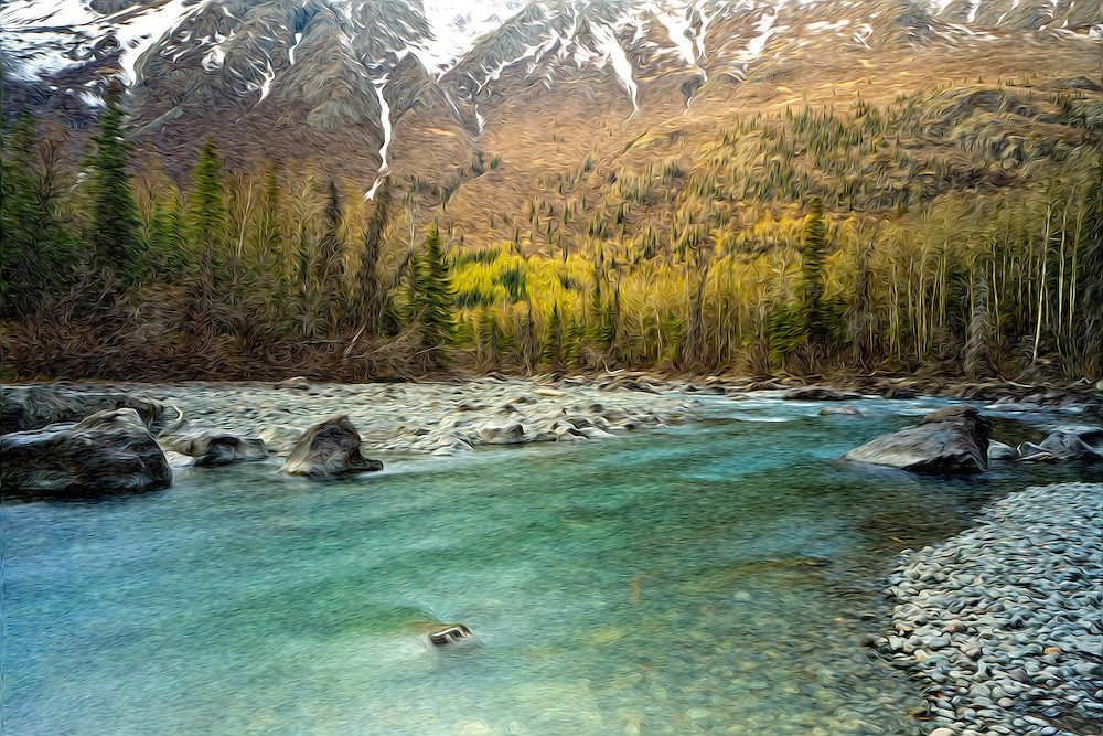 Oil Painting rendition of the greens of spring begin to come out in the valley along Eagle River while snow remains in the Chugach Mountains at the Rapids in Chugach State Park in Southcentral Alaska. Afternoon.