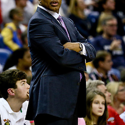 Feb 19, 2016; New Orleans, LA, USA; New Orleans Pelicans head coach Alvin Gentry against the Philadelphia 76ers during the second half of a game at the Smoothie King Center. The Pelicans defeated the 76ers 121-114. Mandatory Credit: Derick E. Hingle-USA TODAY Sports