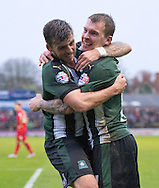 Goalscorer Graham Carey of Plymouth Argyle (left) celebrates with team-mate Gregg&nbsp;Wylde after Carey made it 2-0 to their team during the Sky Bet League 2 match at Bootham Crescent, York<br /> Picture by Russell Hart/Focus Images Ltd 07791 688 420<br /> 14/11/2015