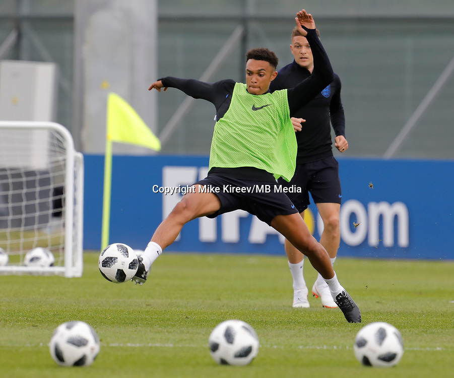 SAINT PETERSBURG, RUSSIA - JUNE 13: Trent Alexander-Arnold of England national team during an England national team training session ahead of the FIFA World Cup 2018 in Russia at Stadium Spartak Zelenogorsk on June 13, 2018 in Saint Petersburg, Russia.