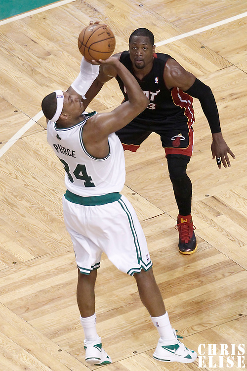 03 June 2012: Boston Celtics small forward Paul Pierce (34) takes a jumpshot over Miami Heat shooting guard Dwyane Wade (3) during the second half of Game 4 of the Eastern Conference Finals playoff series, Heat at Celtics, at the TD Banknorth Garden, Boston, Massachusetts, USA.