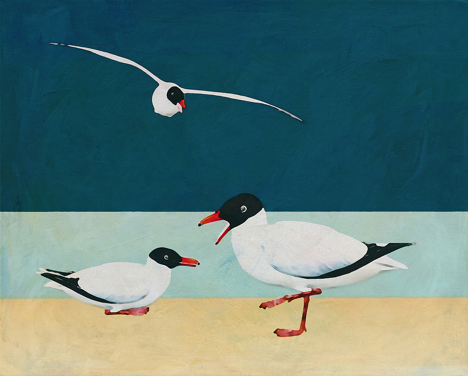 Transport yourself to the sunny seaside. Bring yourself to the ocean with this fine art piece by Jan Keteleer. The scene depicts two Blackheaded Seagulls at the beach. Such a simple image. Yet at the same time, it shows us the beauty to be found in the things we sometimes take for granted. A perfect choice for animal lovers, or those who dream of vacations by the sea. -<br />