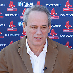 February 19, 2011; Fort Myers, FL, USA; Boston Red Sox owner Larry Lucchino during spring training at the Player Development Complex.  Mandatory Credit: Derick E. Hingle