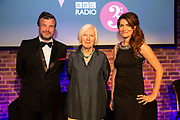 Petroc Trelawney and Georgia Mann of BBC Radio 3<br /> Hosts of the RPS Music Awards and Judith Weir, Presenter, London, Wednesday 9 May<br /> Photographed at the RPS Music Awards, London, Wednesday 9 May<br /> Photo credit required:  Simon Jay Price<br /> www.rpsmusicawards.com  #RPSMusicAwards