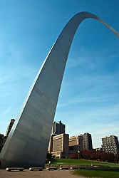 18 October 2010: The Gateway Arch crowns the downtown of St. Louis including the old state capitol building. a very wide angle lens was used for this shot and distortion and vignetting are a natural occurrence.  Some of those effects have been partially corrected via editing. St. Louis Missouri
