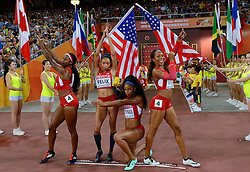 30-08-2015 CHN: IAAF World Championships Athletics day 9, Beijing<br /> 400 m relay Francena MCCORORY, Allyson FELIX, Natasha HASTINGS, Sanya RICHARDS-ROSS<br /> Photo by Ronald Hoogendoorn / Sportida
