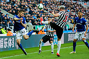 Jonjoe Kenny (#43) of Everton and Paul Dummett (#3) of Newcastle United contest the ball during the Premier League match between Newcastle United and Everton at St. James's Park, Newcastle, England on 9 March 2019.