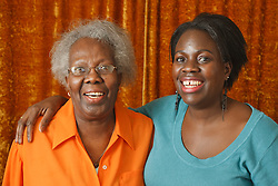 Portrait of elderly lady with daughter.