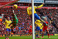 Martin Skrte of Liverpool (not shown) scores his second goal of the game to make it 2-0 during the Barclays Premier League match at Anfield, Liverpool<br /> Picture by David Horn/Focus Images Ltd +44 7545 970036<br /> 08/02/2014