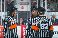REGINA, SK - MAY 25: Referees and linesman  at the Brandt Centre on May 25, 2018 in Regina, Canada. (Photo by Marissa Baecker/CHL Images)