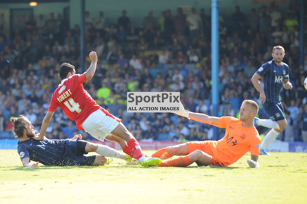 Swindons Fabien Robert gives his side the lead in their Sky Bet League 1 clash with Southend