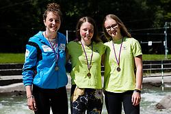 Alja Kozorog, Eva Alina Hocevar and Katja Bengeri during medal ceremony of Kayak Single (C1) Women race of Tacen Cup 2020 on May 24, 2020 in Tacen, Ljubljana, Slovenia. Photo By Grega Valancic / Sportida