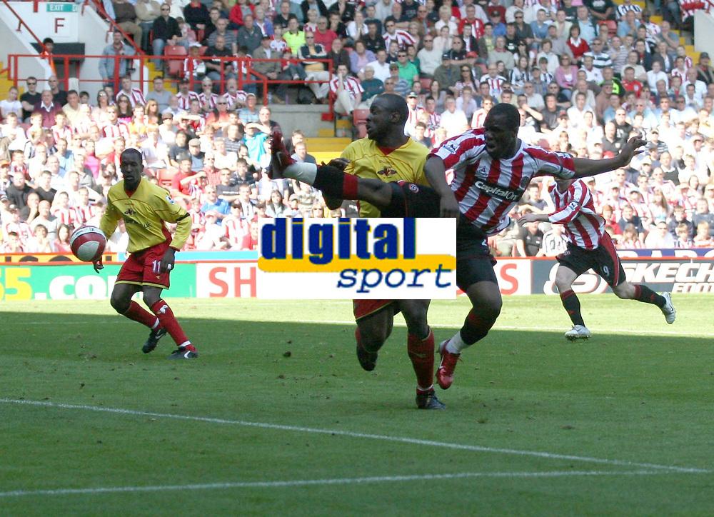Photo: Mark Stephenson.<br /> Sheffield United v Watford. The Barclays Premiership. 28/04/2007.Sheffield's Christian Nade shoots for goal