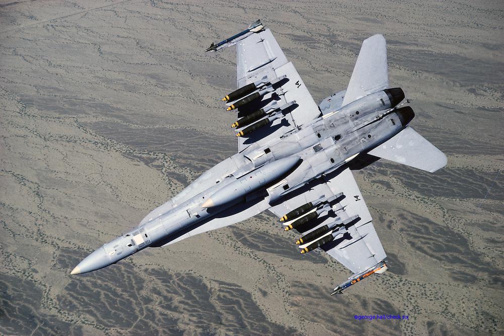 F/A-18 Hornet with Mark-82 500-lb bombs over Fallon ranges
