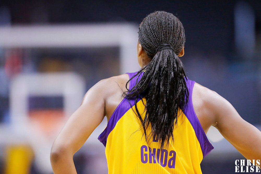 19 June 2014: Los Angeles Sparks forward/center Sandrine Gruda (7) rests during the Los Angeles Sparks 87-77 victory over the Tulsa Shock, at the Staples Center, Los Angeles, California, USA.