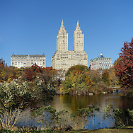 The San Remo apartment towers seen over The Lake in Central Park